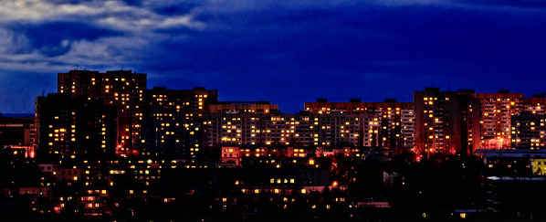 Chisinau's buildings by night