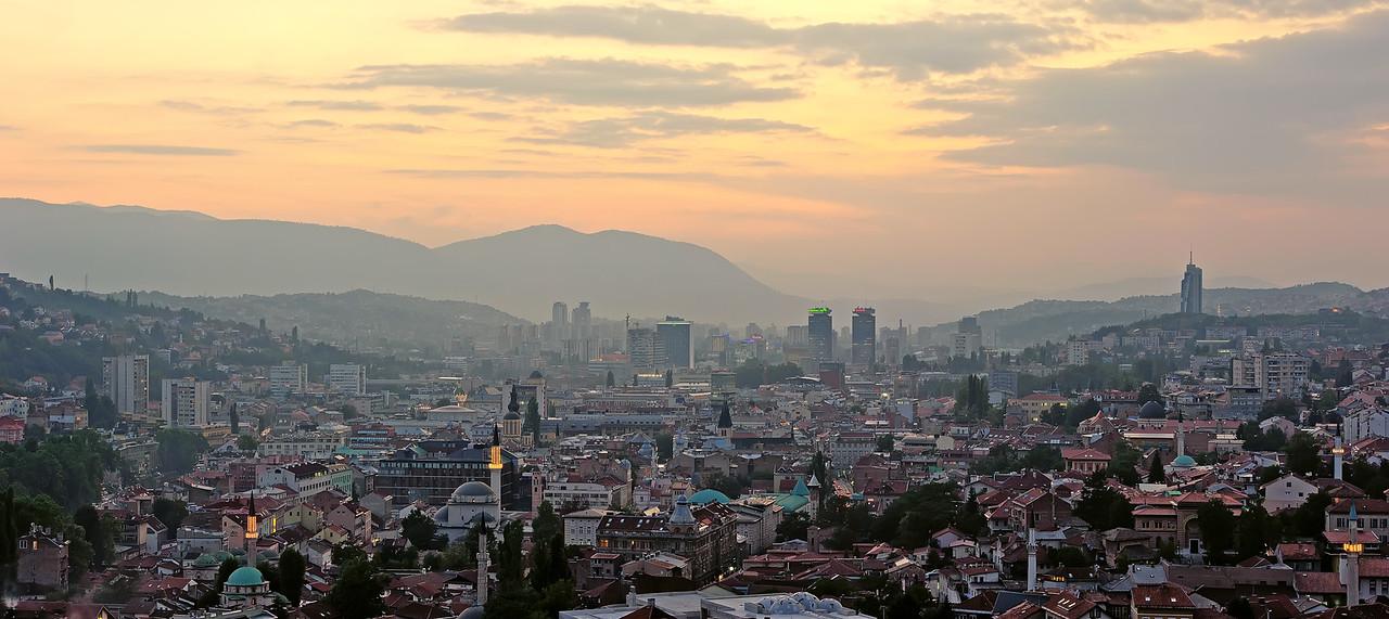 Panoramic night view of Sarajevo