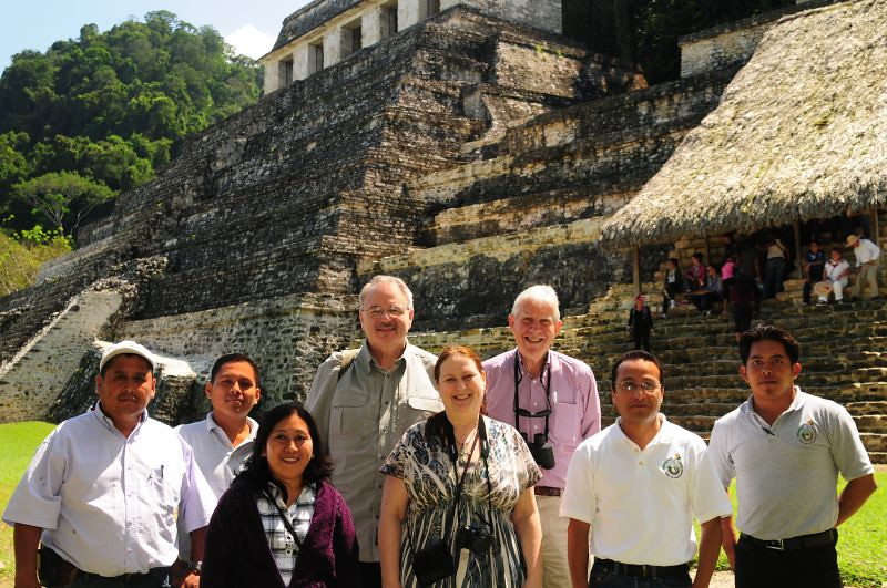 "Program participants and Amextra staff enjoy a tour of ancient Mayan ruins just outside Palenque, Chiapas. UNESCO declared the Palenque ruins a <a href=""http://whc.unesco.org/en/list/411/"">World Heritage</a> site in 1987. Read more about the archeology of this historic site <a href=""http://www.palenquepark.com/archaeology.htm"">here</a>; see more photos of the site <a href=""http://en.wikipedia.org/wiki/Palenque"">here</a>."