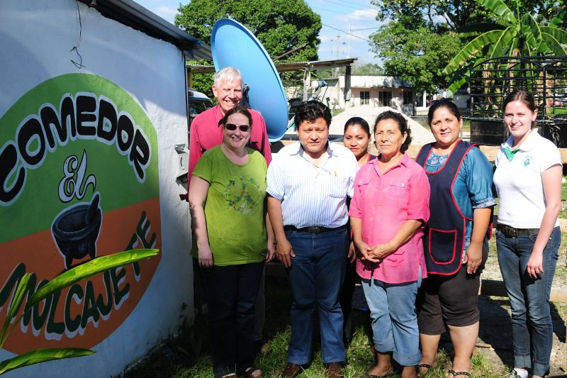 We had lunch in a small restaurant east of Palenque that was started with the help of a small business loan from Amextra. The partner (in the pink blouse) is pictured here with Jorge Perez, Amextra / Palenque microfinance director, program participants and two of her co-workers.