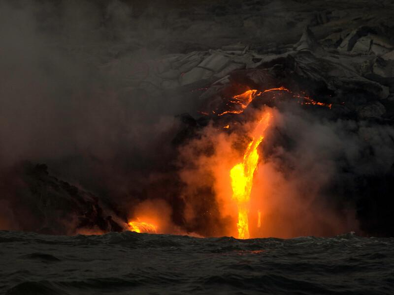 Lava enters the ocean at Kalapana, Hawaii