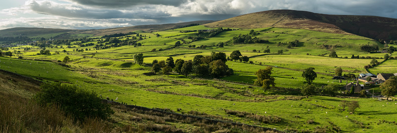 The valley from Sabden to Roughlee, captured in the evening  between the rain and showers.  A panorama stitch of six portrait images.