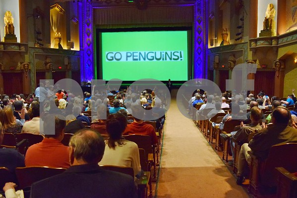 "Joe King, the Penguin Project coordinator for Children's Community Theatre, addresses the crowd during the premiere of ""Go Penguins!,"" a documentary about the Penguin Project's 2013 show, ""The Little Mermaid."" ""Go Penguins!"" debuted Sunday, with a showing for the community at the Egyptian Theatre in DeKalb."