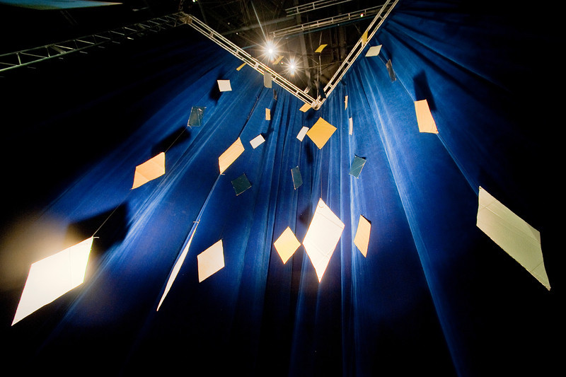 Diamond mobiles hang in the Bryce Jordan Center near the stage set up for THON 2010. The diamonds are a symbol of THON and the Four Diamonds Fund.