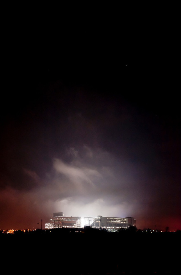 Beaver Stadium glows late at night on Monday, Jan. 23, 2012, as Penn State mourned the death of its former head football coach Joe Paterno. Photo by Andy Colwell