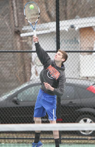 Action during the Penn Yan vs. Newark tennis match, April 7, 2015.