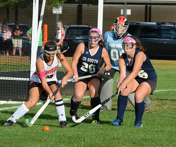 Olivia Mauro (15) tries to penetrate South defense.