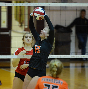 Kiley Bucknum (13) sets the ball for the Falcons.