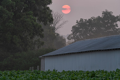 Red Sun on Church Shed