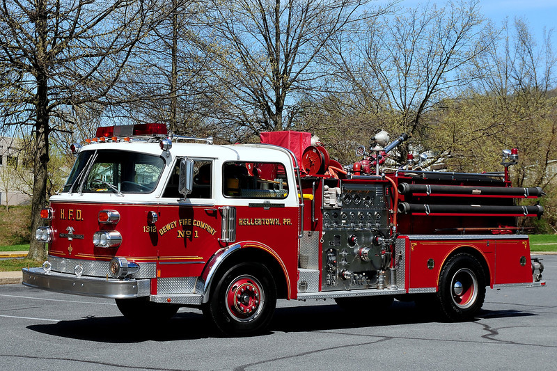 Dewey Fire  Co # 1   Hellertown, Pa   Engine  1312  1977  American  La France  1000/ 500   #CE-17552 now  Owned  by  a  Collector