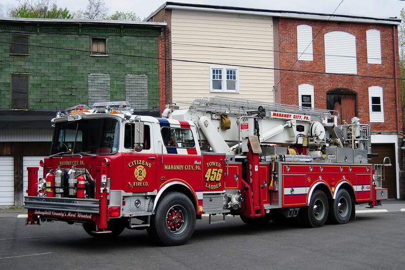 Mahanoy City, Pa  1990 Mack CF/ Baker 75ft Tower Ladder  Ex- Upper Saucon Twp, Pa