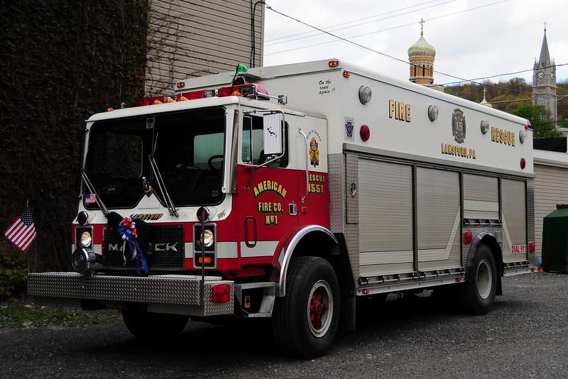 Lansford, PA Rescue 1551   1988 Mack MC/ Saulsbury    EX-FDNY Mask Service Unit
