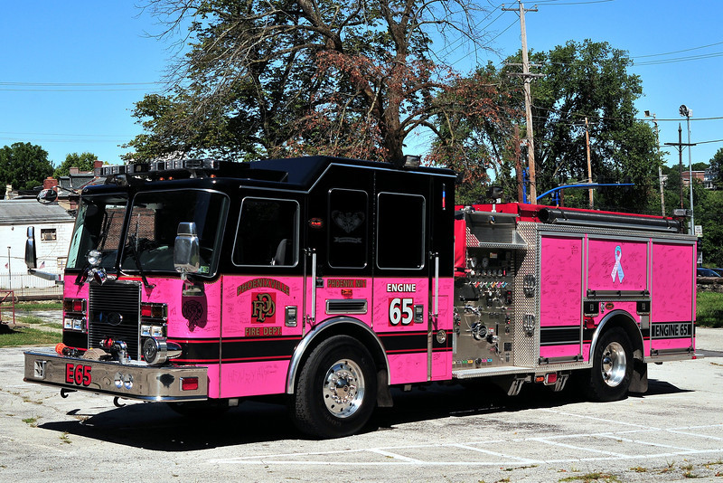 Phoenixville Fire Dept   Engine  65  2008 KME Predator  1500/ 750 ,The Engine took on it's new appearances and remained in service, in the hopes our emergency response vehicles would bring our community together to raise awareness & fight cancer. This vehicle is  a symbol of hope for those fighting cancer, a symbol of strength for those who have conquered the disease and a symbol of remembrance for those whom have lost their battle. There are way too many stories to tell but we have already helped many families across Montgomery County. For all those who chose to become actively involved, it is a life changing experience