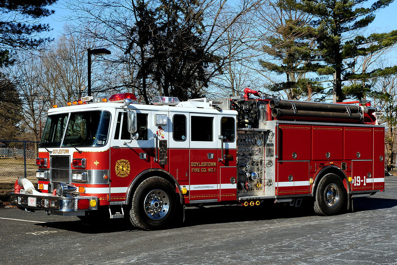 Doylestown Fire Co #1  Engine  19-1   1992  Pierce  Lance  2000/ 1000/  35  Class B  Foam