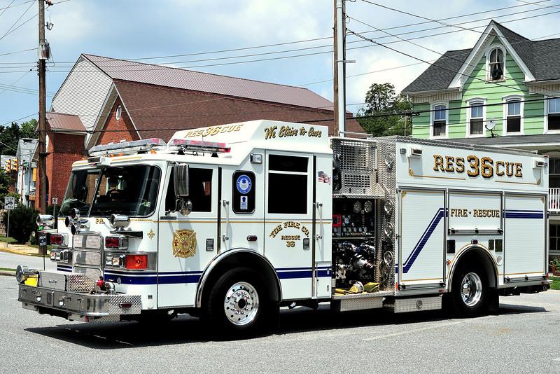 Yoe Fire Company  Rescue 36    2007  Pierce Enforcer  1500/ 750/ 30 Foam