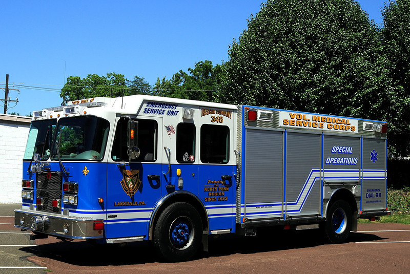 Vol Medical Sevice Corps of  Lansdale, Pa    Rescue  345   2006  Spartan/Rosenbauer     Ex- White Lakes, NY
