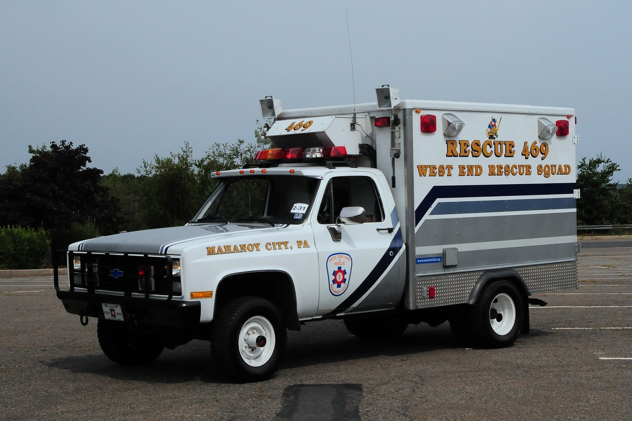 West End Fire & Rescue  Rescue  469 1985  Chevy  grummand  Light Duty Rescue  ex US Military Ambulance