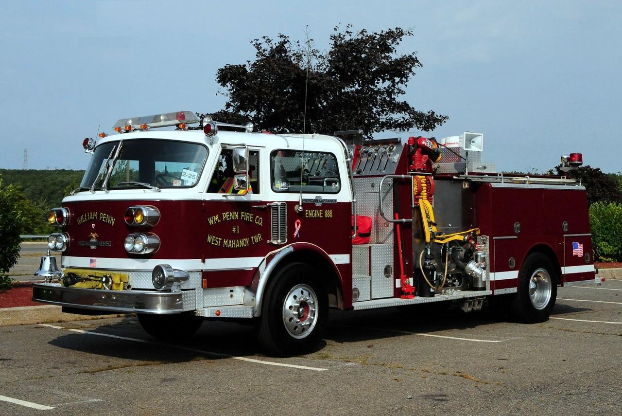 William Penn Fire Co  1982  American La France  1500/500  refurb in 2001  by custom Tec  Ex- Marcus Hook , Pa