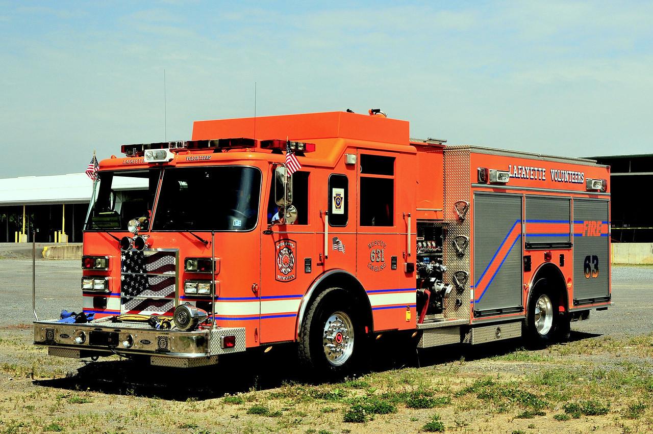 Lafette  Rescue Engine  631  2003 Pierce Dash  1500/ 500 /30  Ex- Rivera Beach , MD