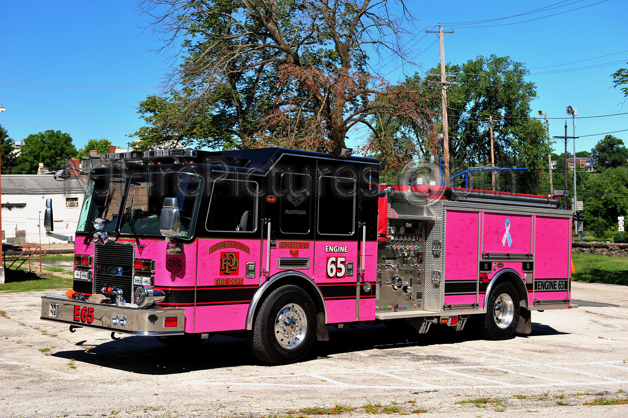 PHOENIXVILLE ENGINE 65 - 2008 KME 1500/750 IN PINK LIVERY FOR CANCER VICTIMS. (PINK HEALS)