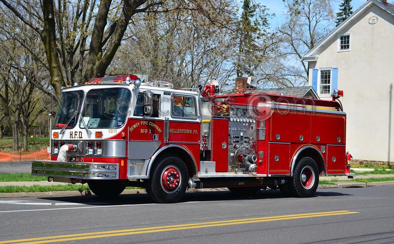 HELLERTOWN, PA DEWEY FIRE CO. ENGINE 1311 - 1989 HAHN 1000/750