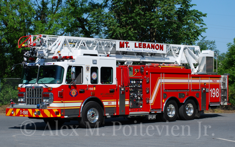 Mount Lebanon Fire Department<br /> Allegheny County, Pennsylvania<br /> Truck-198<br /> 2011 Spartan/Smeal 1500/480/20F/105'<br /> Photo by: Alex M. Poitevien Jr.