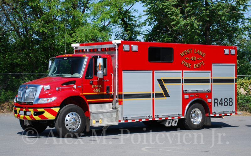 West Lake Fire Department<br /> Rescue 488<br /> 2010 International/Marion<br /> Photo by: Alex M. Poitevien Jr.