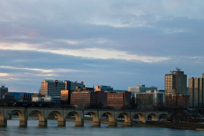 Market Street Bridge and Downtown Harrisburg at Dusk