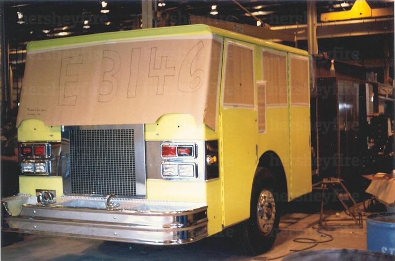 Hershey Engine 48 (Job# E3146) under constuction at Pierce Mfg. Appleton, WI circa 1986
