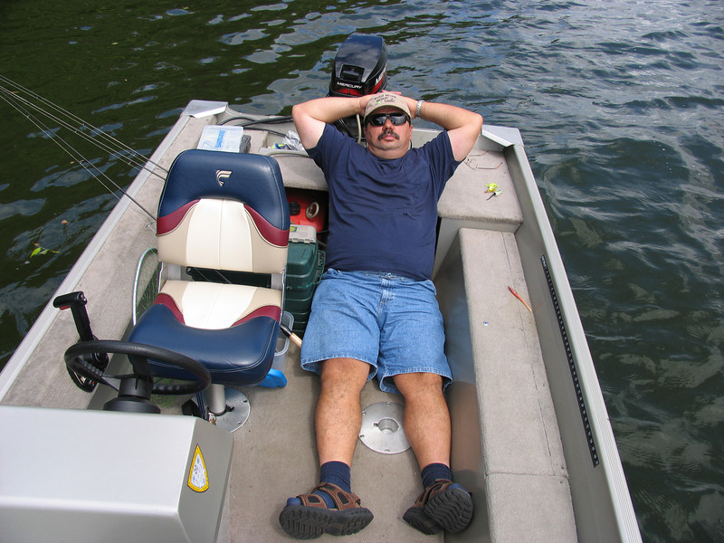 Dinu Iorga taking a break from fishing - Lake Nockamixon - August 2005