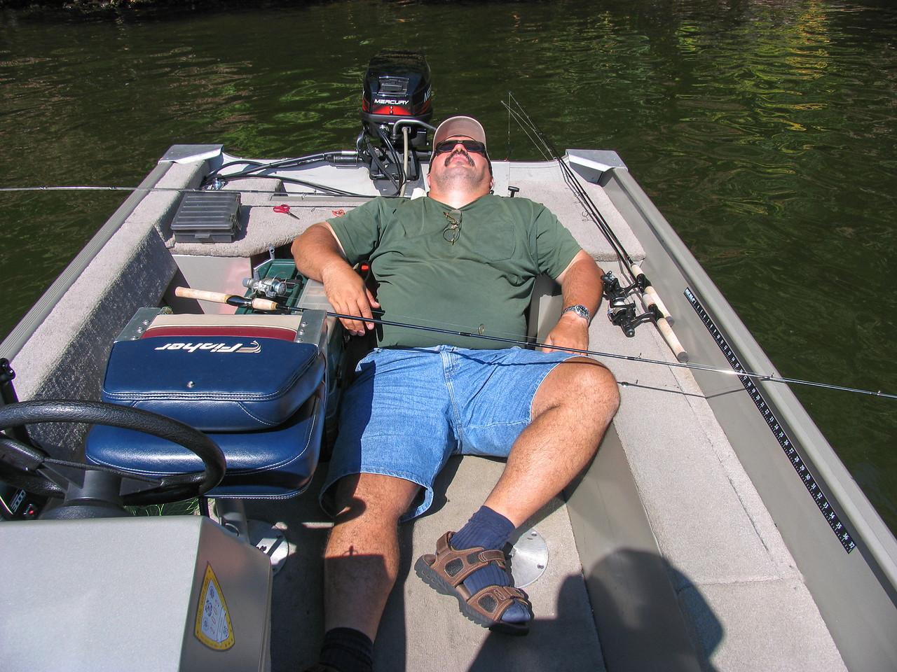Dinu Iorga taking a break from fishing - Lake Nockamixon - September 2005