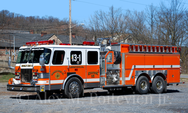 Brooklyn Fire Company<br /> Lewistown, PA<br /> Engine-Tanker 13-1<br /> 1993 E-One 1500/2000<br /> Photo by: Alex M. Poitevien Jr.