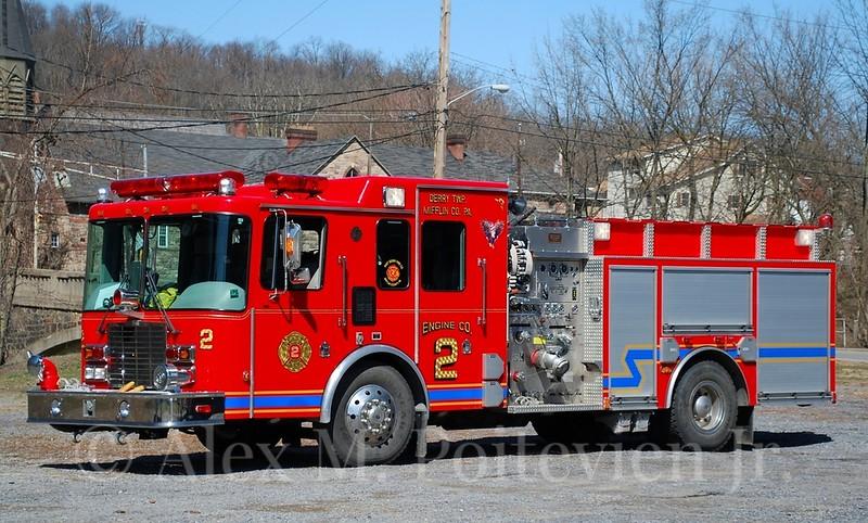 East Derry Fire Company<br /> Engine 2-1<br /> 1999 HME/4 Guys 1500/500<br /> Photo by: Alex M. Poitevien Jr.