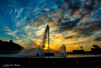 Point State Park fountain at sunset.