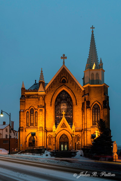St. Mary of the Mount Church at dusk.