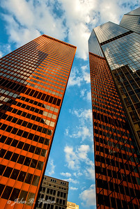 Golden office buildings