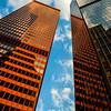 Golden office buildings