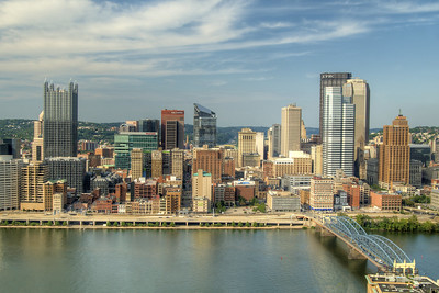 View of the downtown skyline of Pittsburgh, PA on Friday, August 14, 2015. Copyright 2015 Jason Barnette