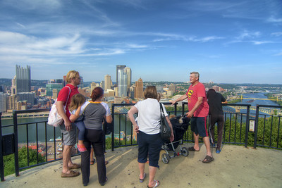 View of the downtown area from a scenic overlook on Mount Washington in Pittsburgh, PA on Friday, August 14, 2015. Copyright 2015 Jason Barnette