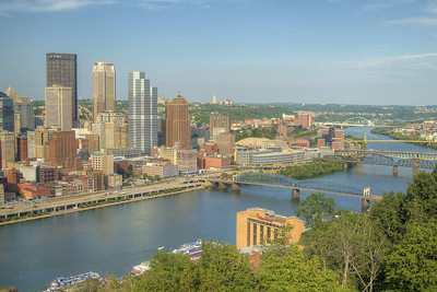 View of the Monongahela River and downtown Pittsburgh, PA on Friday, August 14, 2015. Copyright 2015 Jason Barnette