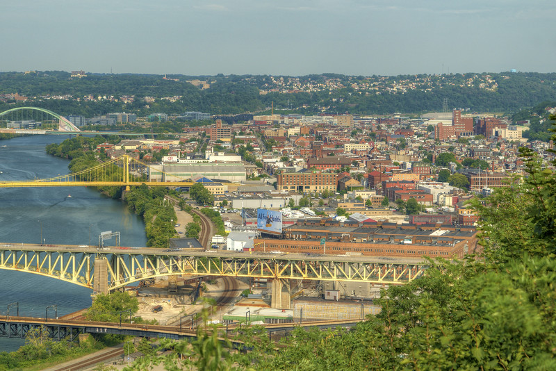 View of the Southside area of Pittsburgh, PA on Friday, August 14, 2015. Copyright 2015 Jason Barnette