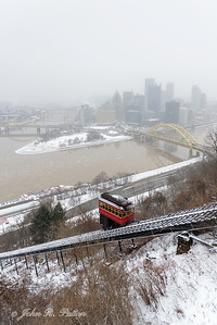 Snowy Pittsburgh skyline