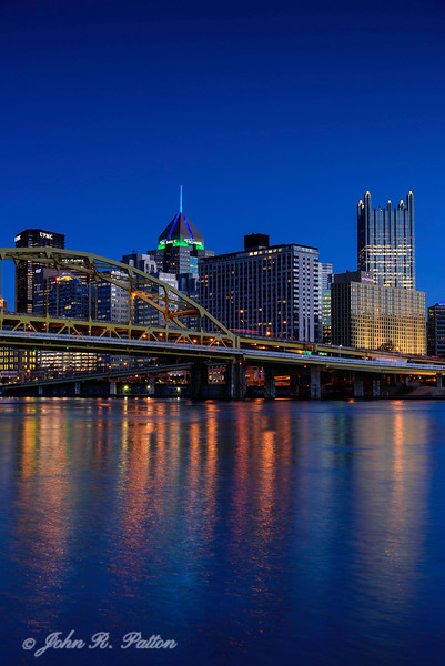 Pittsburgh skyline at night from North Shore.