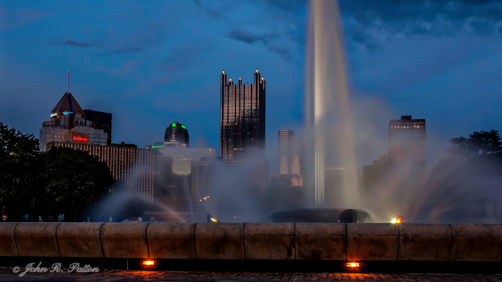Point State Park fountain at dusk.