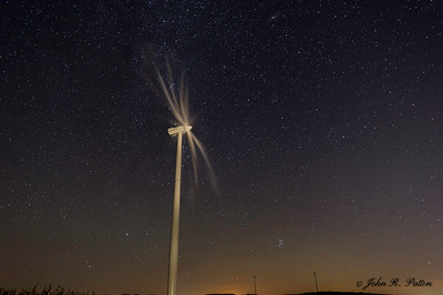 Wind turbine at night
