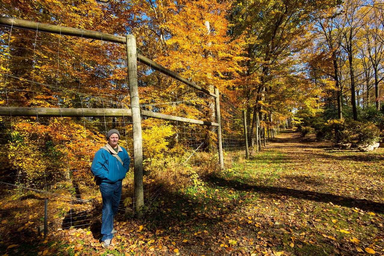 Large fence protecting Tyler Arboretum - 03 November 2013