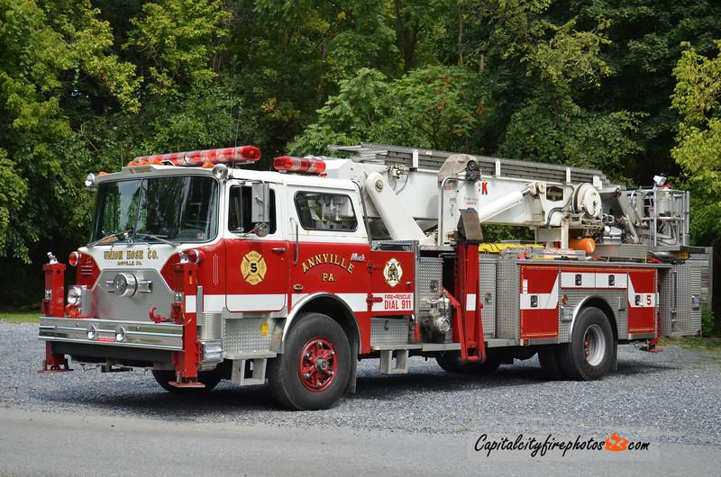 Union Hose Co. (Annville Borough) X-Truck 5: 1981/1991 Mack/Baker 75' Aerialscope (X-FDNY, Deer Park, NY)