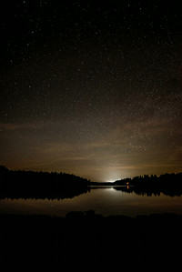 Stars with campfire at Lake Jean, Rickett's Glenn State Park
