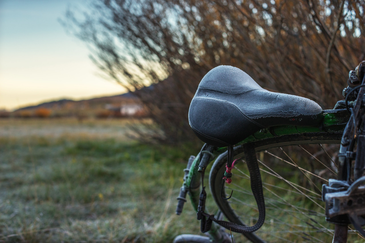 A cold night in the tent, and a frosty saddle in the morning.