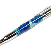 30 Caliber Bolt Action Rifle Chrome ballpoint shown with Denim Swirls Lava Lamp acrylic